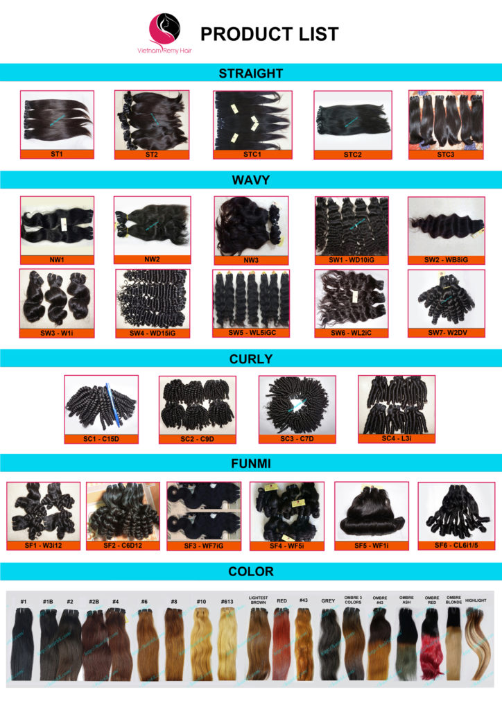 Image of hair extension product list from hair68