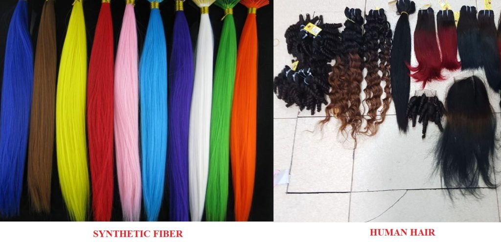 How to distinguish bettween Human hair extension and Synthetic Fiber?