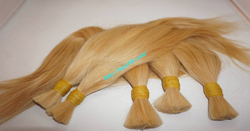 14 inch blonde hair straight single drawn 5