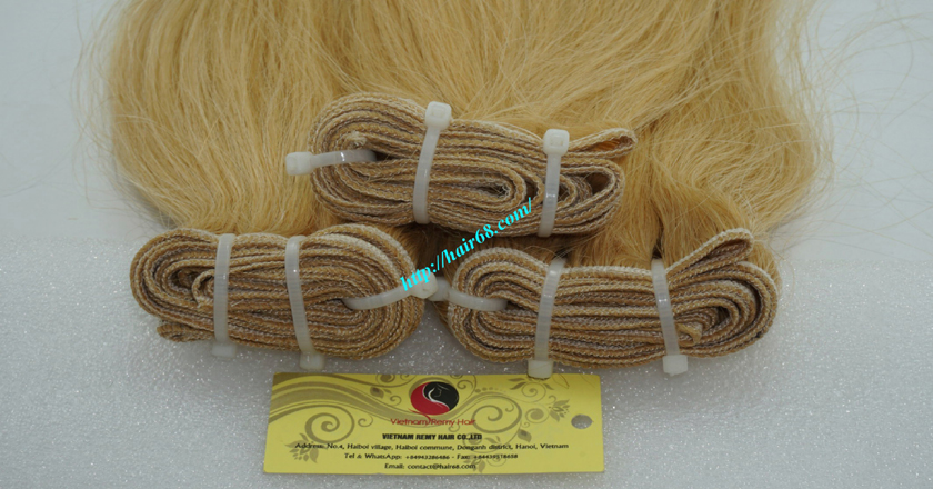 16 inch blonde weave hair straight remy hair 1