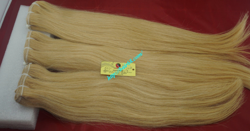 8 inch blonde weave hair straight remy hair 9