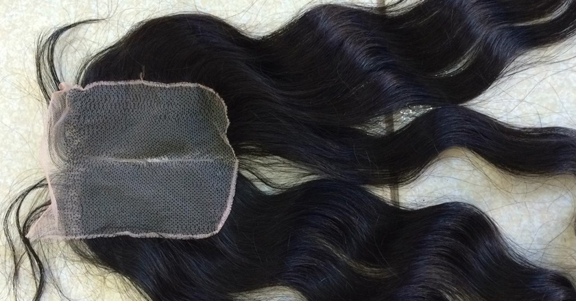 14 inches Middle Part Wavy Lace Closure 4x4 1