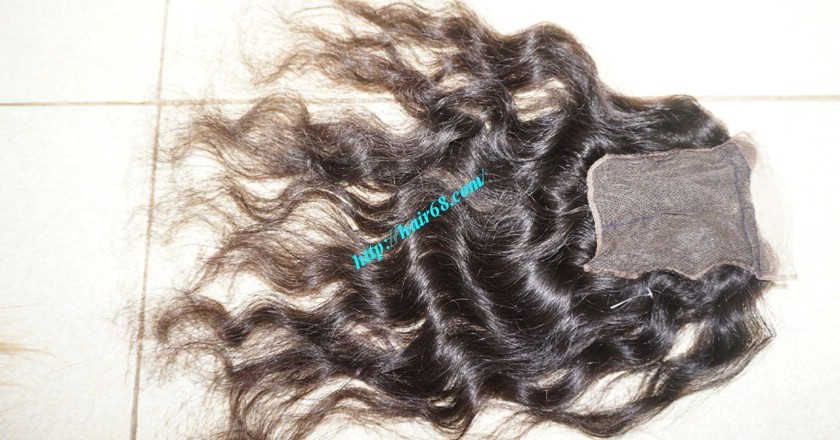 16 inches Middle Part Wavy Lace Closure 4x4 7
