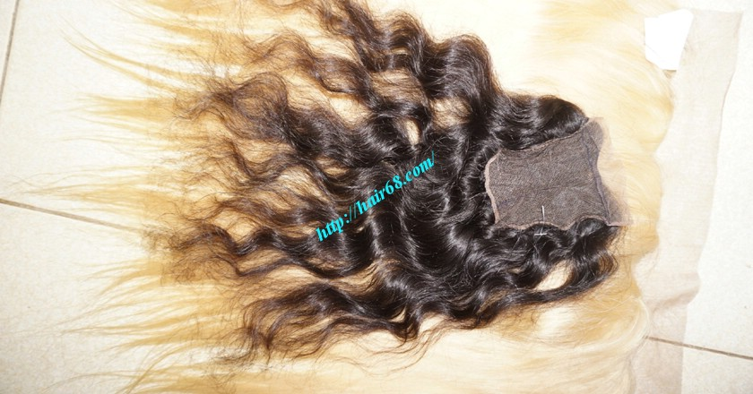 22 inches Middle Part Wavy Lace Closure 4x4 1
