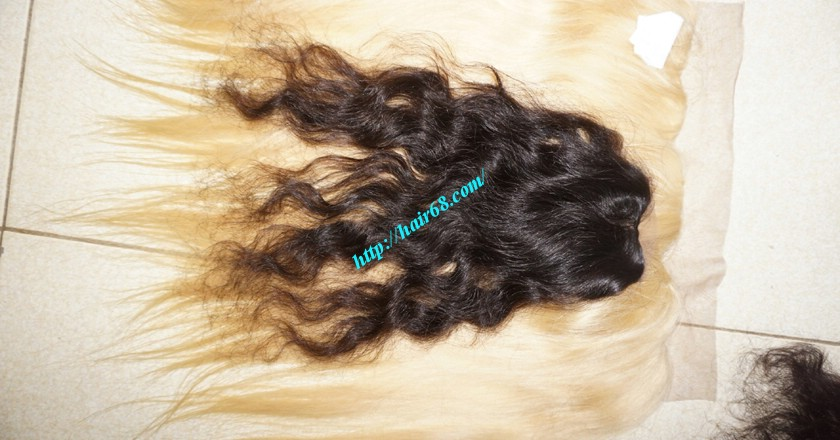 22 inches Middle Part Wavy Lace Closure 4x4 5
