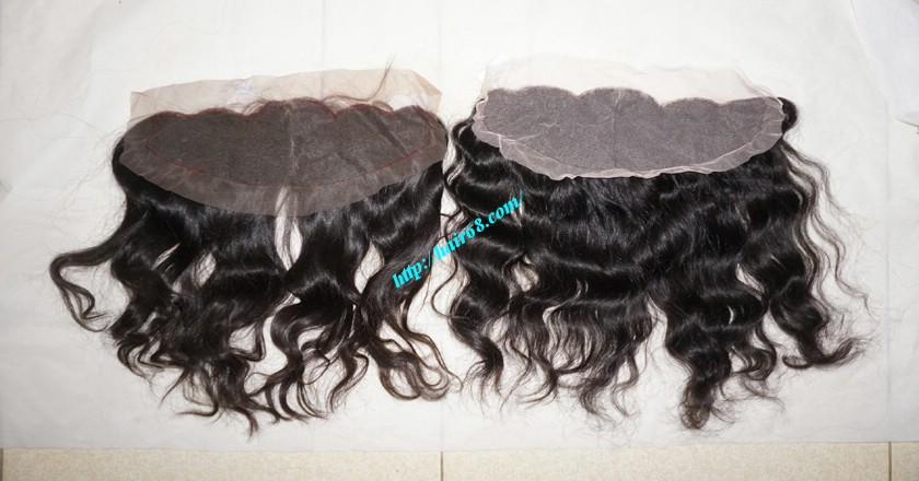 12 inches Vietnamese hair wavy free part lace frontal 2