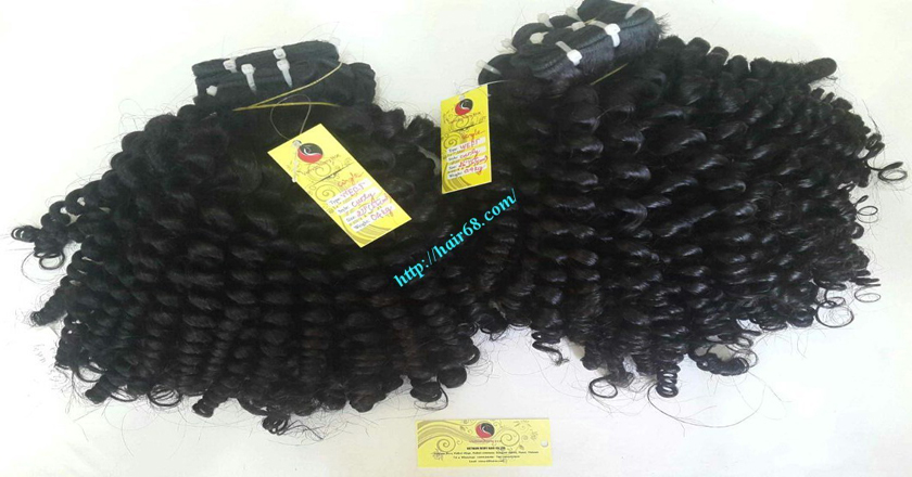 14 inch Curly Weave Remy Hair Extensions – Single Drawn 3