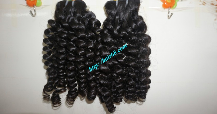 22 Inch Black Curly Hair Weave Double Drawn