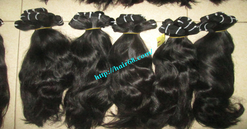 22 inch Wavy Remy Hair Weave - Natural Wavy 1